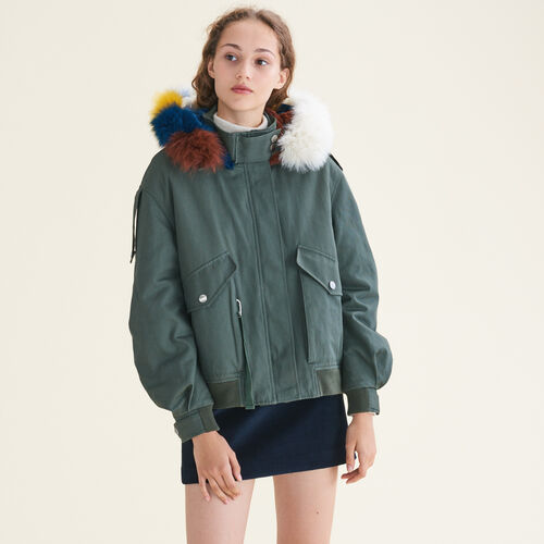 Jacket with multicoloured fur : Coats & Jackets color Khaki