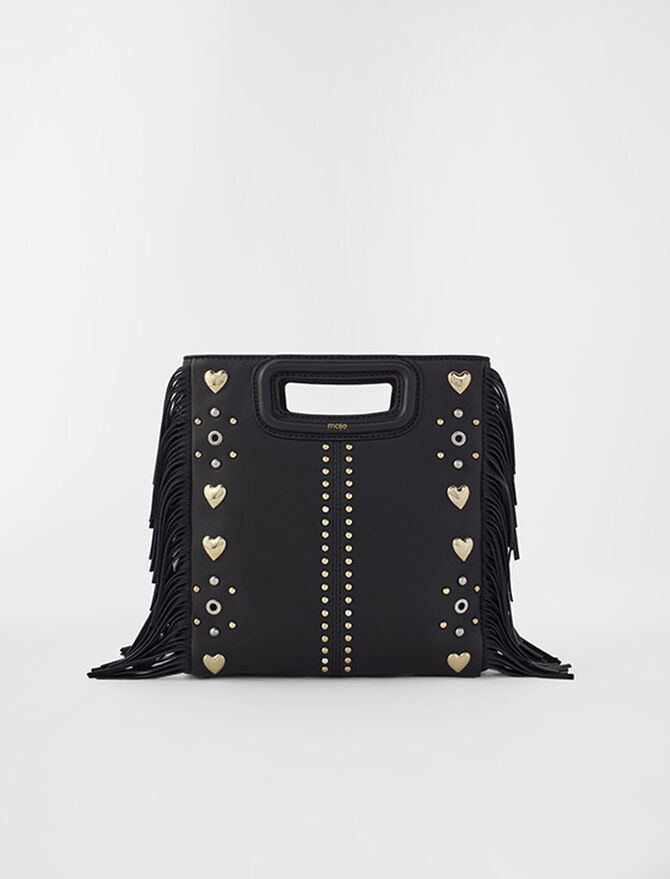 M leather bag with heart studs - Medium Bags - MAJE