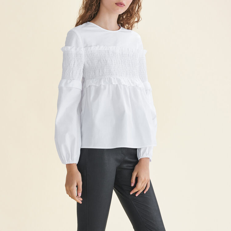 Cotton top with smocking : Tops & Shirts color White