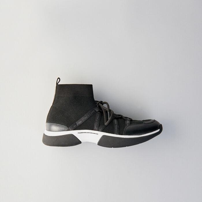 cff84da3f2d8 High-top sneakers in stretch fabric