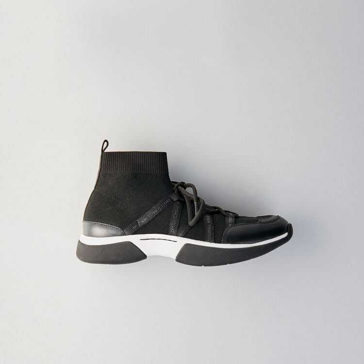 High-top sneakers in stretch fabric : Shoes color Black
