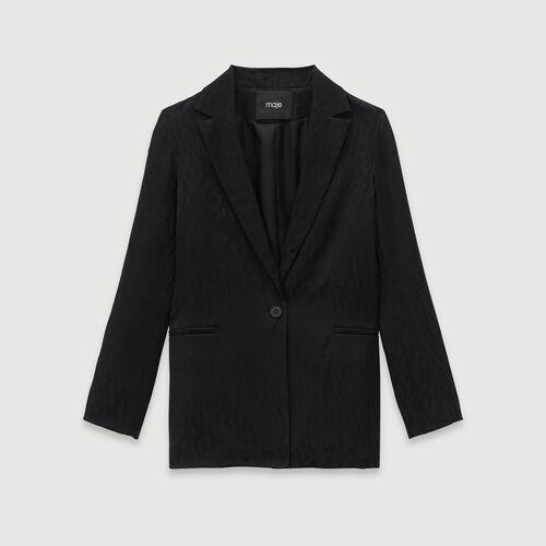Loose-fit satin jacquard jacket : Coats & Jackets color Black