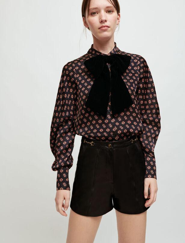 마쥬 홀스빗 디테일 반바지 MAJE Horsebit detail leather shorts,Black