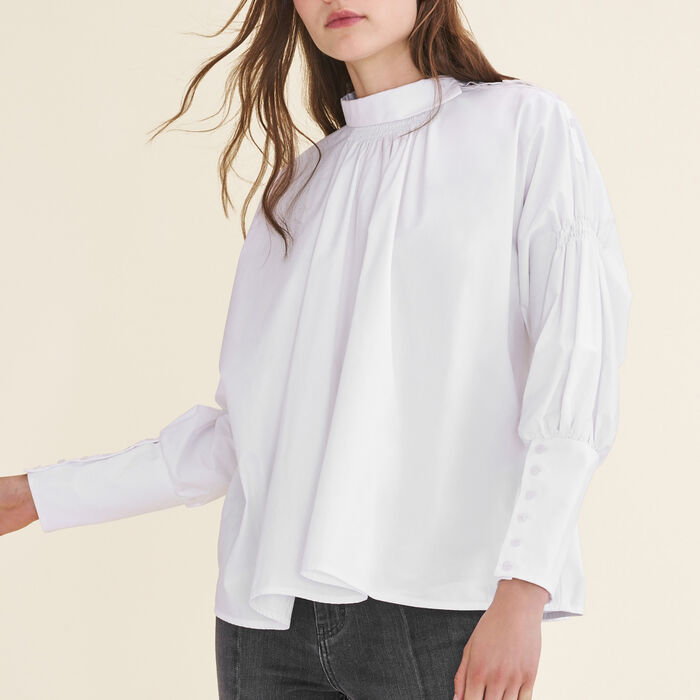 Cotton poplin top : Tops & Shirts color White
