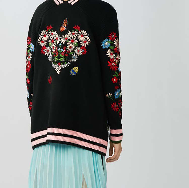 Long embroidered cardigan : Sweaters color Black 210