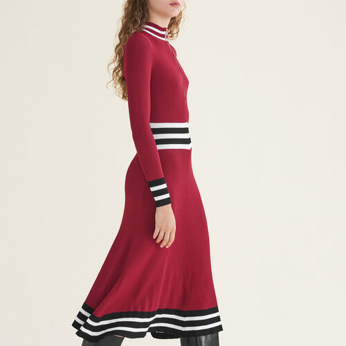 Long rib-knit dress : Burgundy color Burgundy