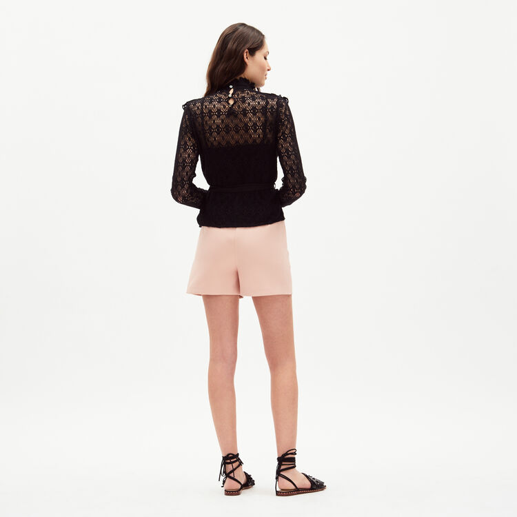Lace top with satin belt : Tops & T-Shirts color Black 210