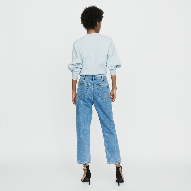 Wide jeans in distressed denim : New Collection color Denim