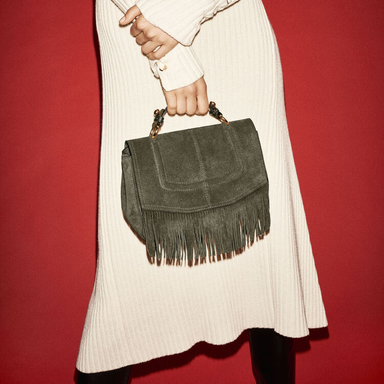 Mini satchel in suede with fringe -  - MAJE