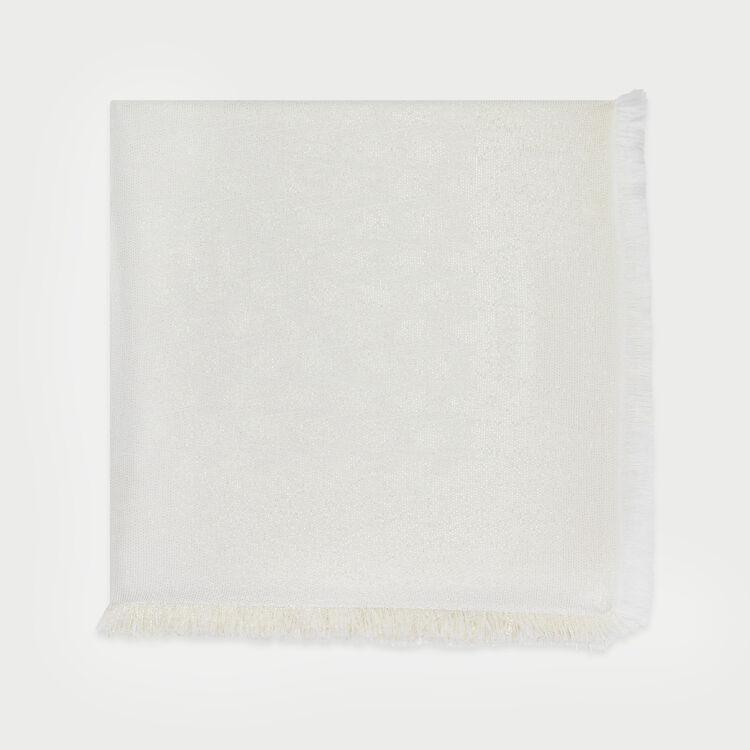 Shawl in lurex M motif : Scarves & Ponchos color Off White