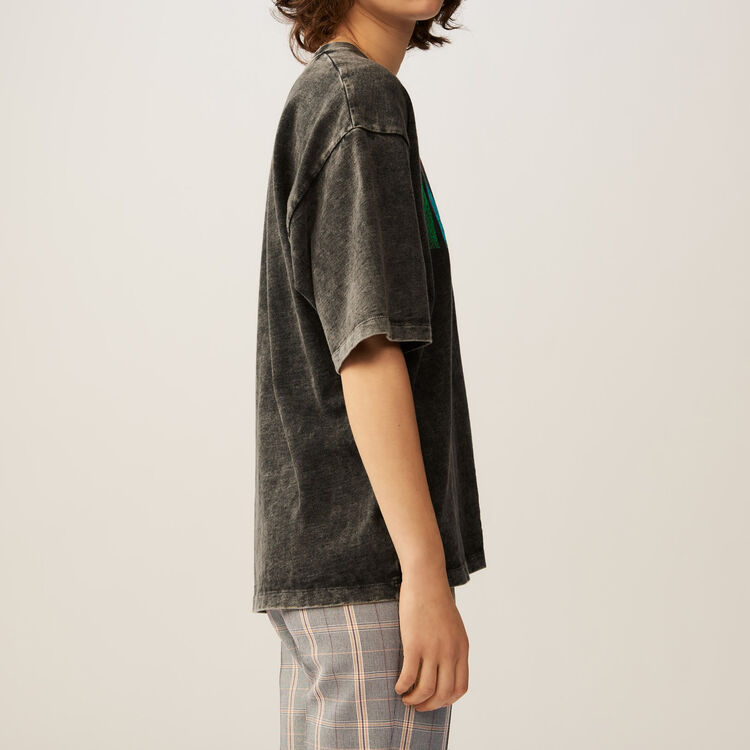 Flowing graphic t-shirt : Tops & Shirts color Grey