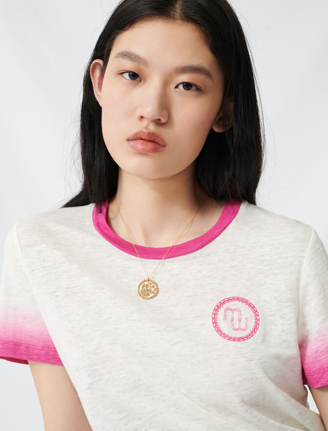 Monogram T-shirt with tie-dye finishes - T-Shirts - MAJE