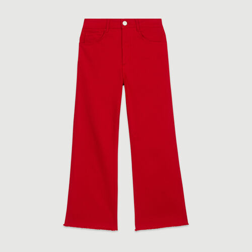 High-waisted wide leg jeans : Pants & Jeans color Red