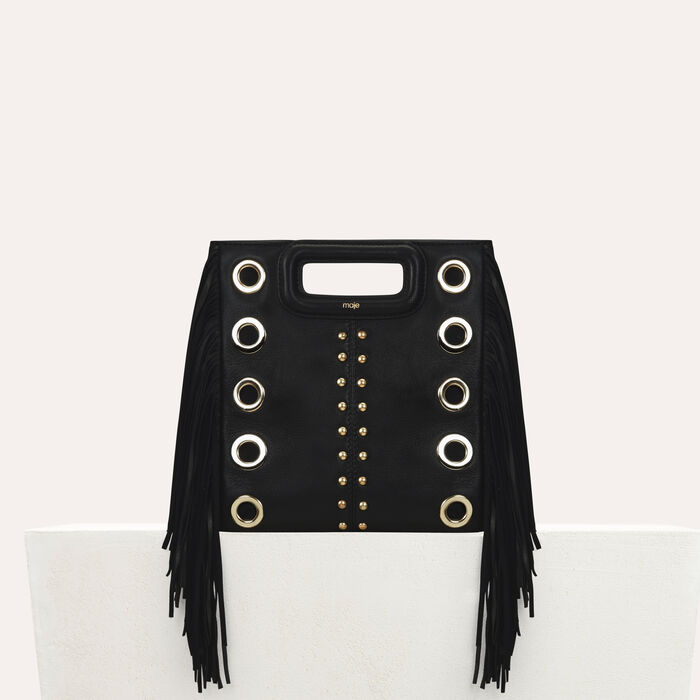 M bag in leather with studs and eyelets : Bags color Black 210