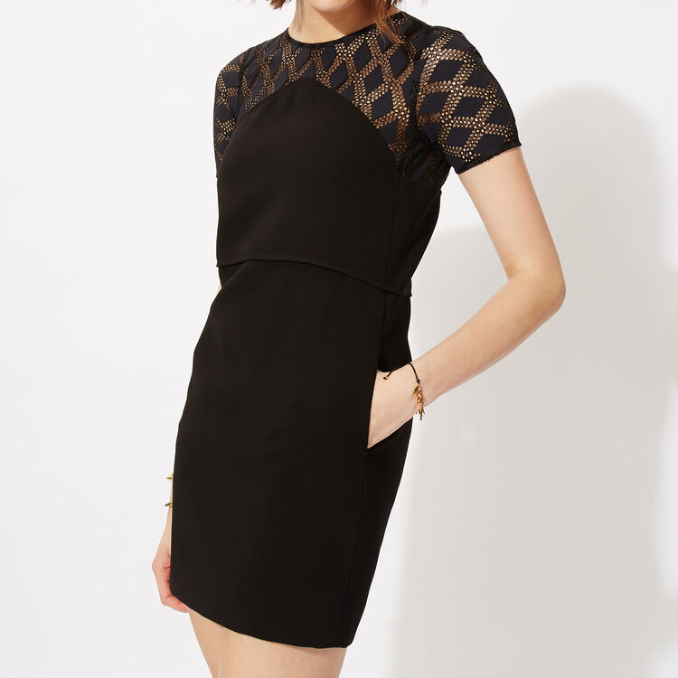 Straight dress in crêpe and lace : Copy of Sale color