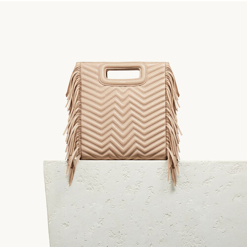 Quilted leather M bag : Carryover color Nude