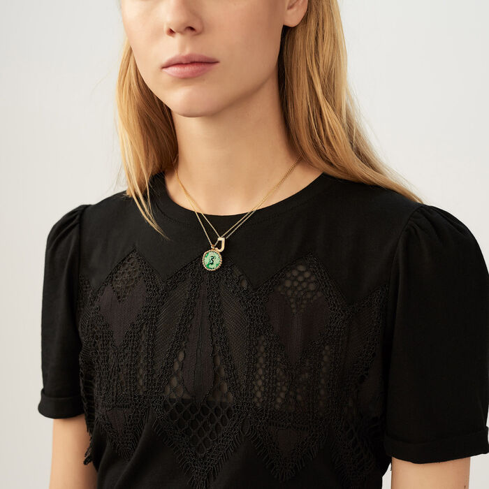 T-shirt with lace : Tops & Shirts color Black 210