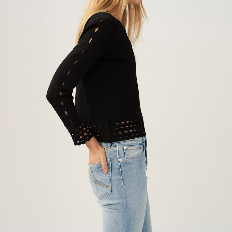 Jumper with openwork detail : Sweaters color Black 210