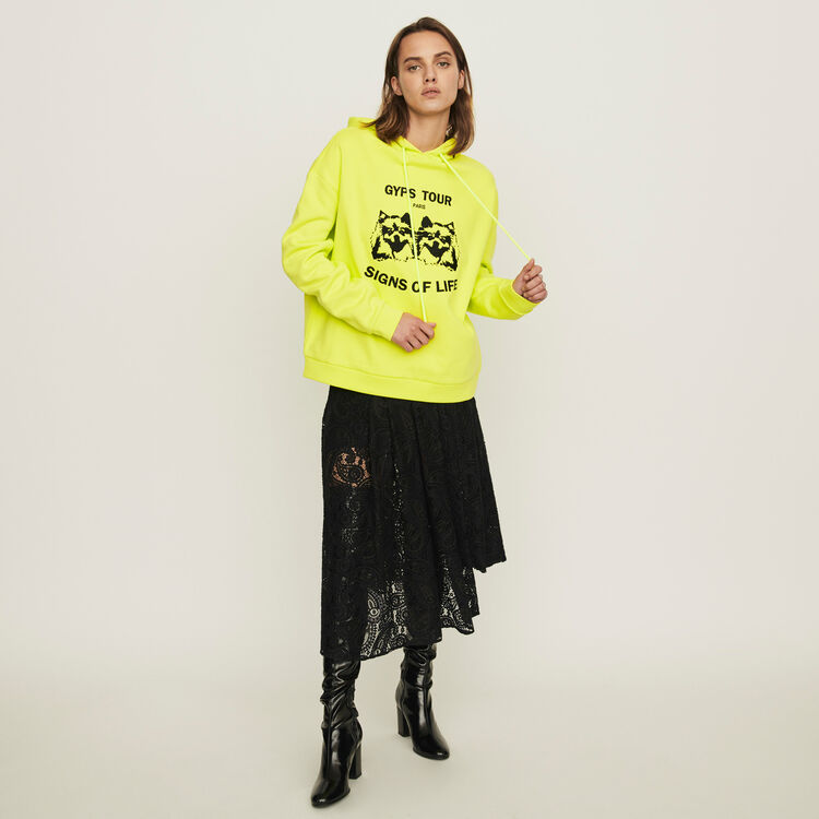 Embroidered hooded sweatshirt : Sweaters color Yellow