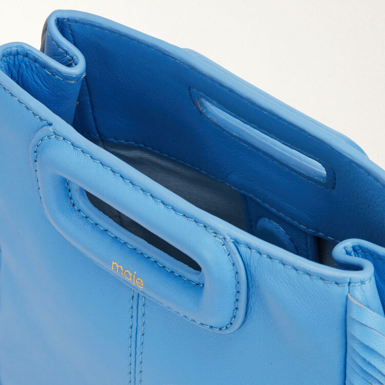 M Mini-bag with leather fringes : Spring Collection color Blue