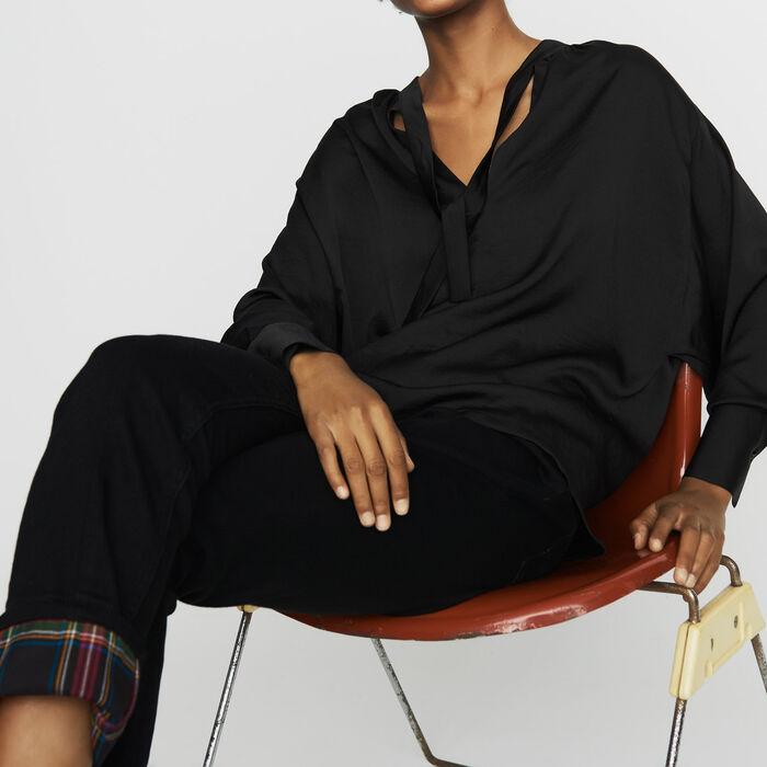 Crepe blouse : Tops & T-Shirts color Black 210