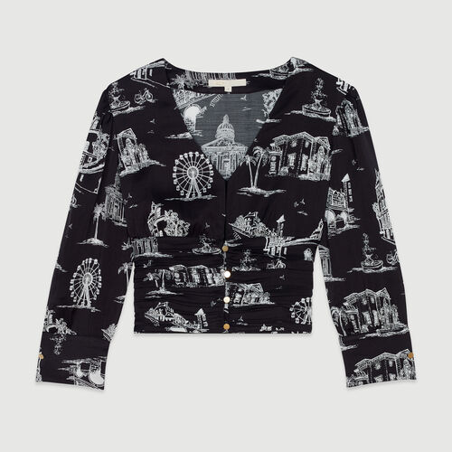 Cropped top in Paris print : Tops & T-Shirts color Black 210