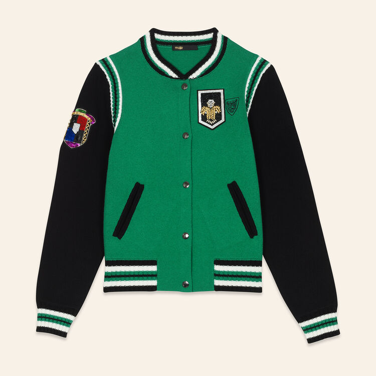 Two-tone knit bomber : Sweaters color GREEN