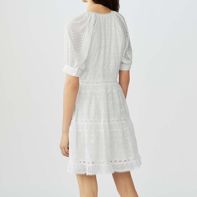 Short embroidered dress : Dresses color ECRU