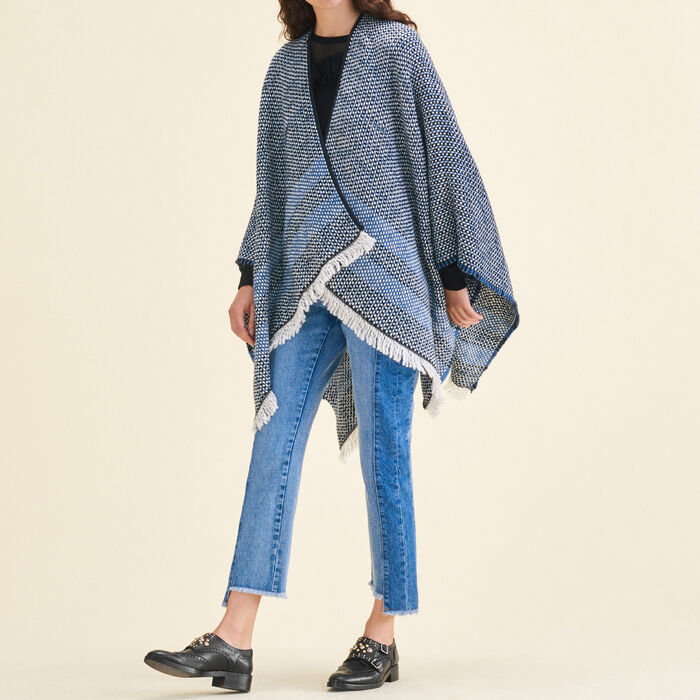 Decorative two-tone knit poncho : Scarves color Blue