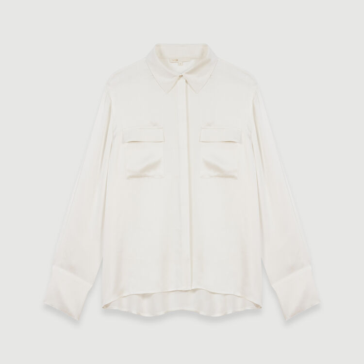 Draped silk blouse : Tops & T-Shirts color White