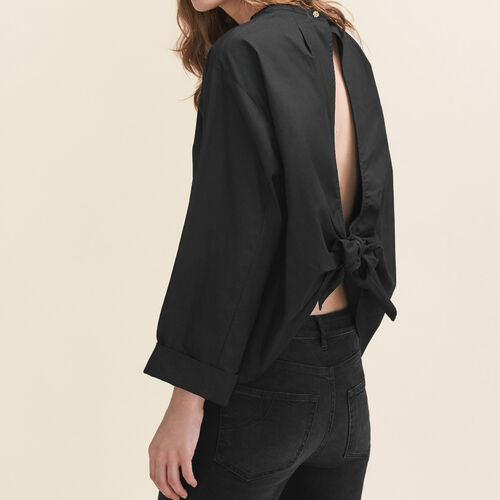 Wide-cut blouse with open back : Tops & T-Shirts color Black 210