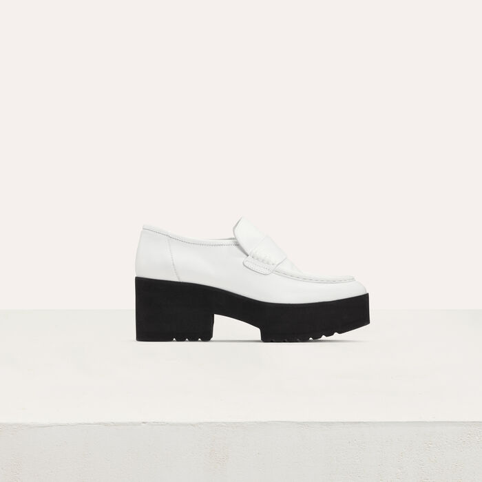 Leather platform loafers : Shoes color White