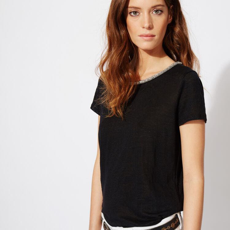 T-SHIRT WITH CHAIN NECKLINE : null color