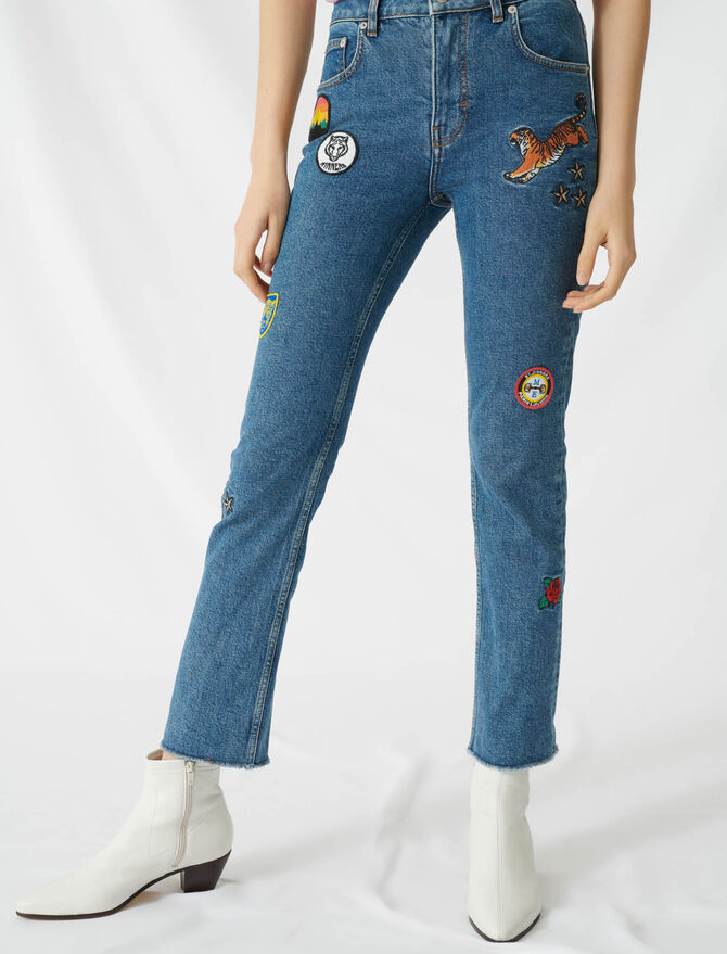 Straight jeans with embroidered patches - Pants & Jeans - MAJE