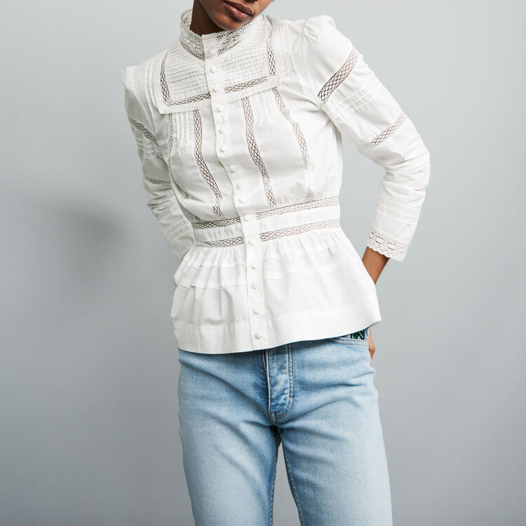 Embroidered poplin blouse : Tops & Shirts color White