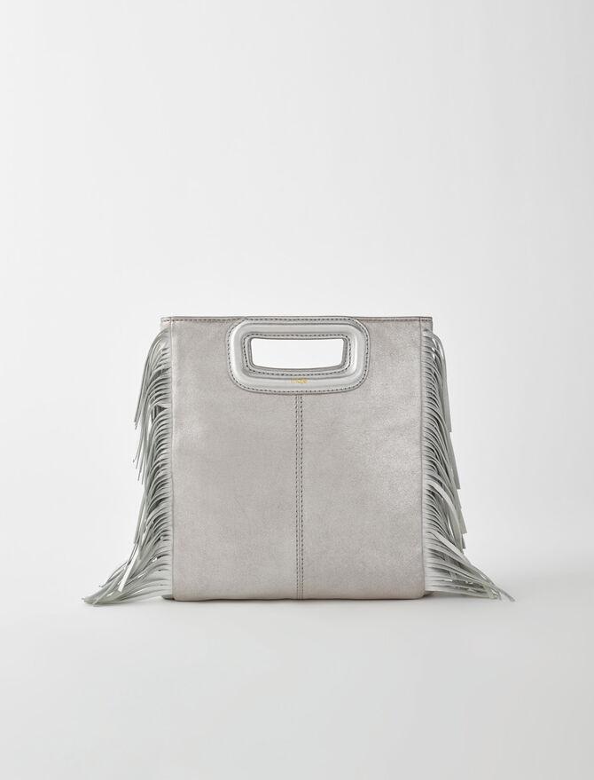 Silver leather M bag - Medium Bags - MAJE