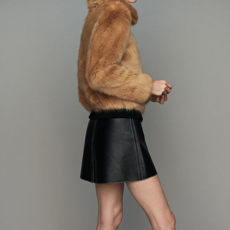 Cropped faux fur jacket : Coats & Jackets color Camel
