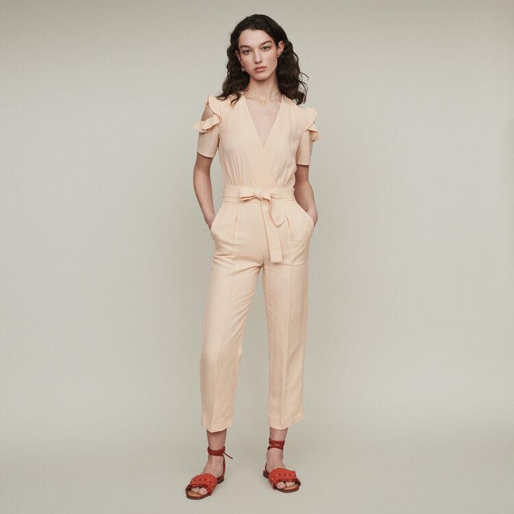 Bimaterial jumpsuit : Jumpsuits & Rompers color Mandarine