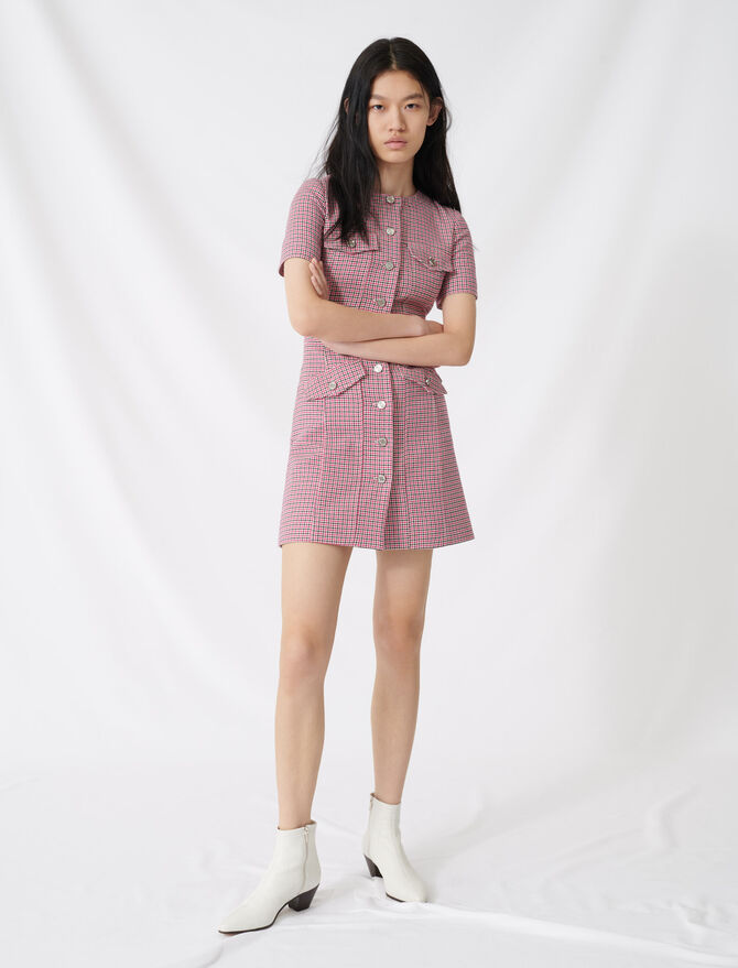 Fitted checked mini dress -  - MAJE