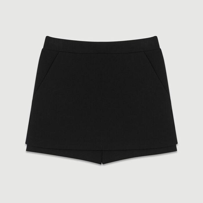 Crepe skort : Skirts & Shorts color Black