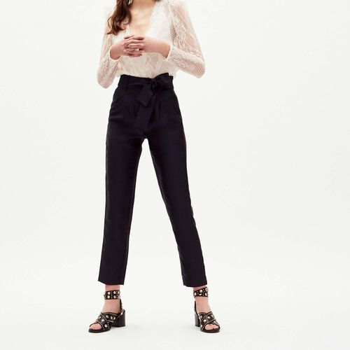 Pleated pants with belt : Pants & Jeans color Navy