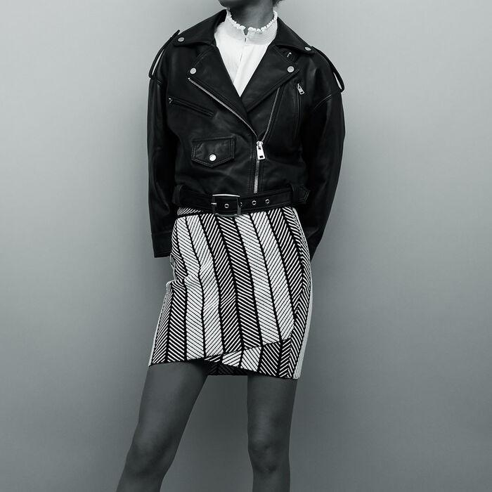 Mini leather jacket : Coats & Jackets color Black 210