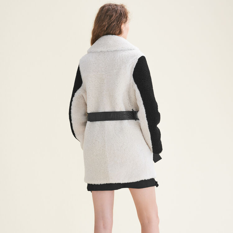 Two-tone sheepskin coat - Coats & Jackets - MAJE