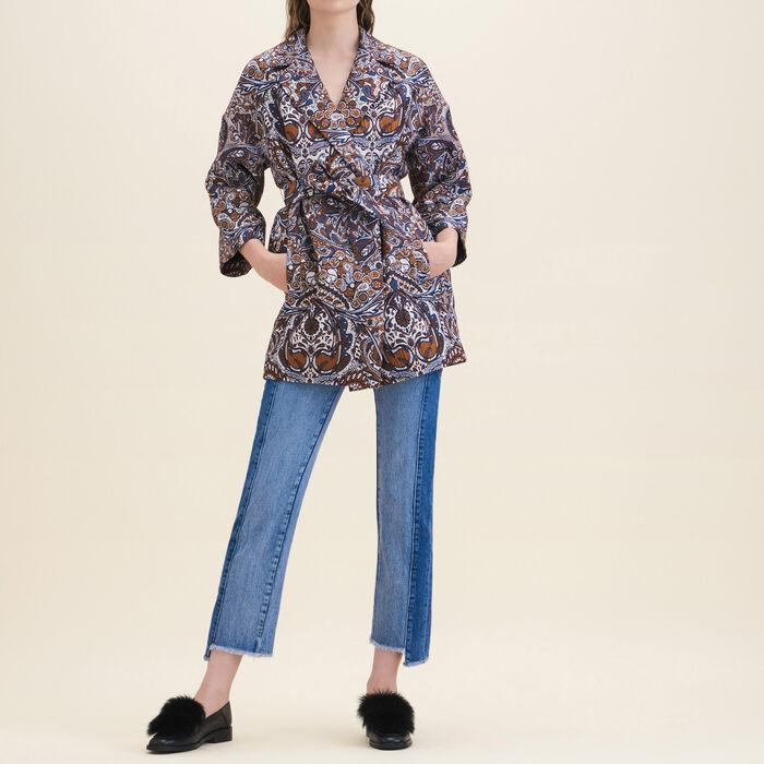 Long jacquard jacket : Coats & Jackets color Jacquard