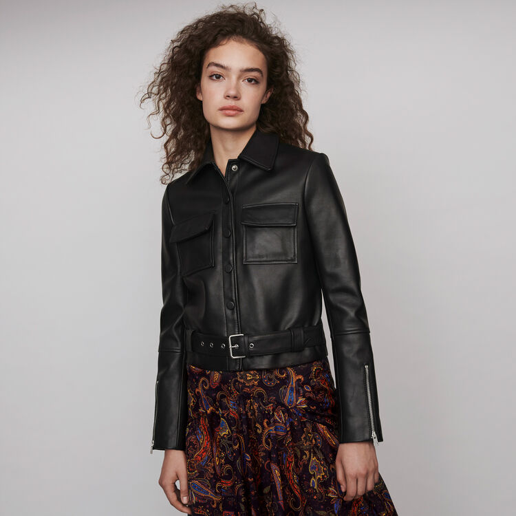 Buttoned leather jacket : Coats & Jackets color Black