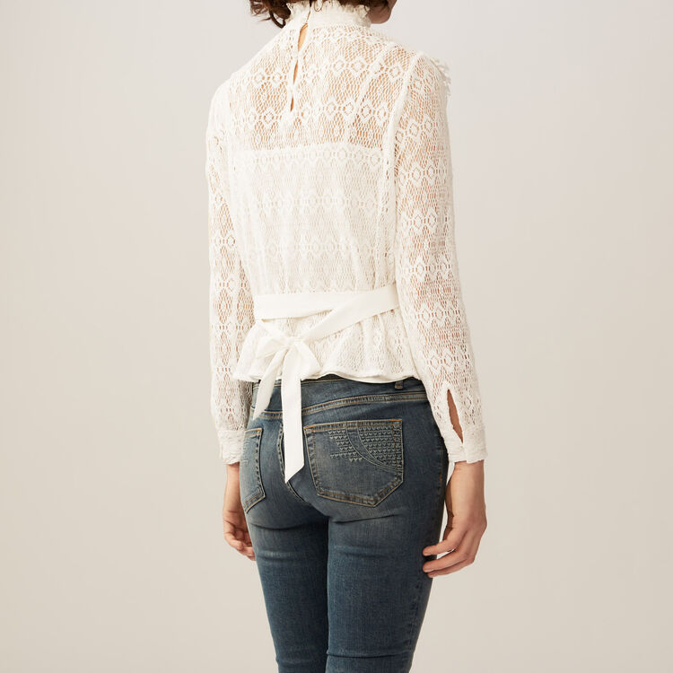 Lace top with satin belt : Tops & Shirts color Ecru