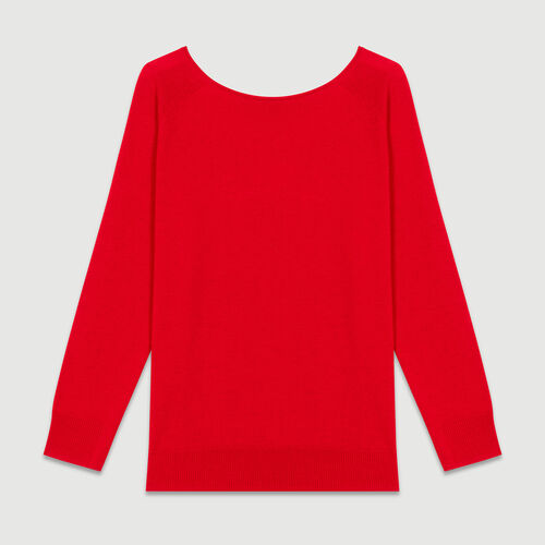 Jumper with low neckline at the back : Sweaters color ROUGE