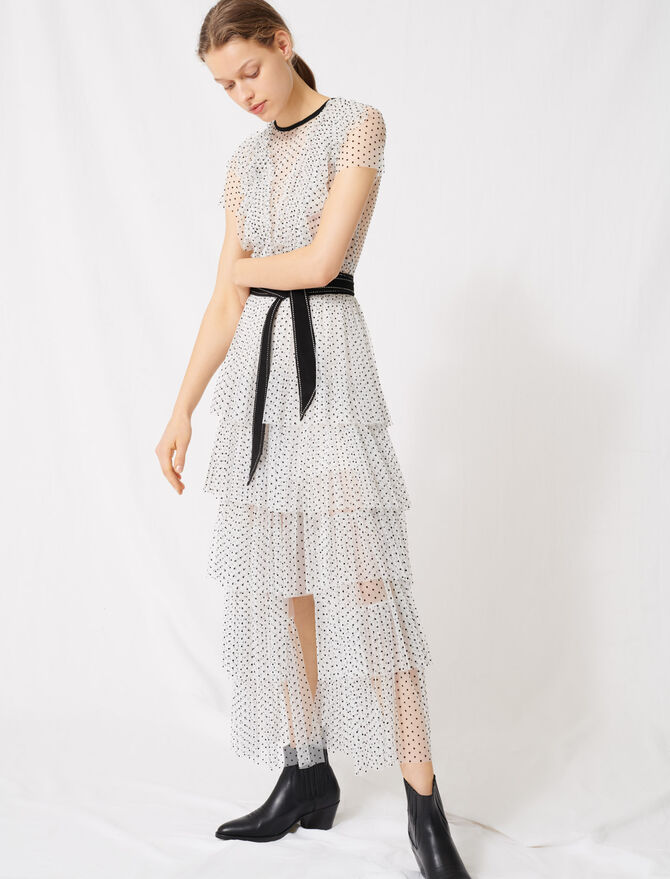 Long dress in swiss-dot tulle - Dresses - MAJE