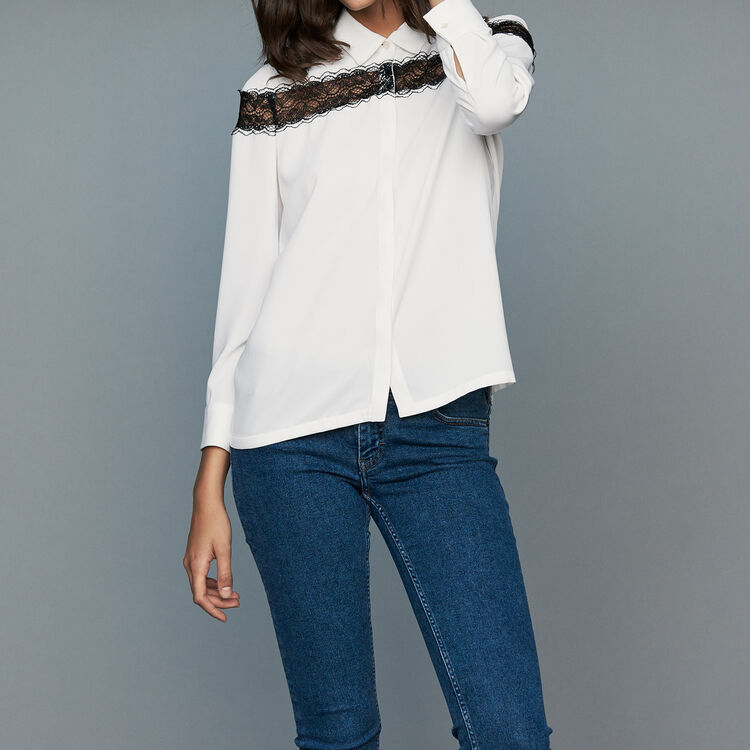 ... Blouse with lace   Tops   T-Shirts color Ecru c8c4b0f32110