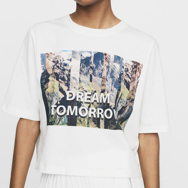 Cropped printed T-shirt : New Collection color White